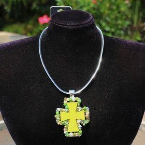 Chunky Boho Cross Necklace Stone Bead Silvertone